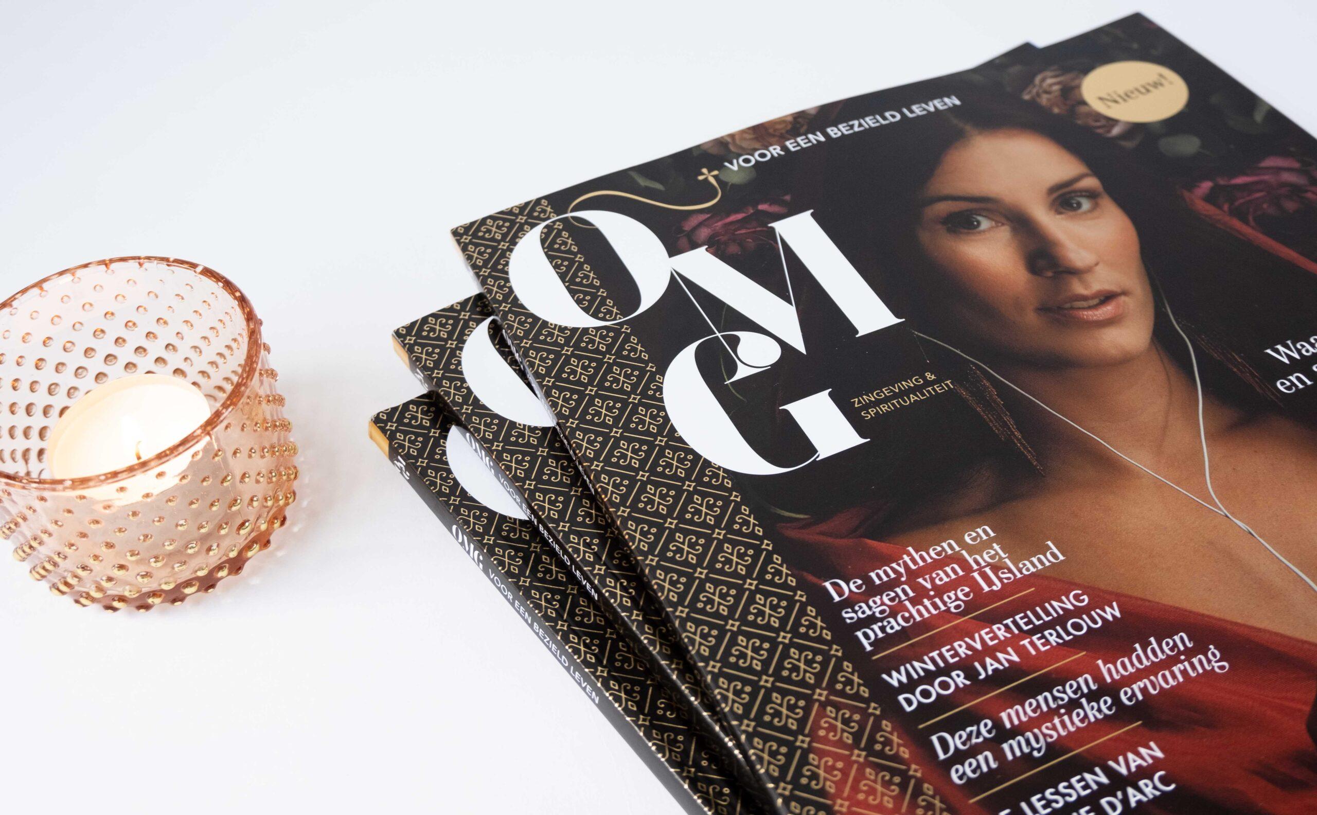 OMG Magazine - Eerste editie - Cover met kaarsje - Other Me God - Voor een bezield leven - Spiritualiteit en zingeving